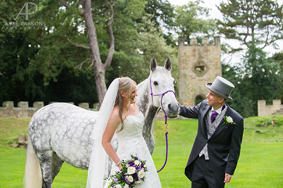 Sheffield wedding photography bride and groom outdoors white horse animal