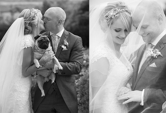 Sheffield wedding photographer bride and groom dog pug animal