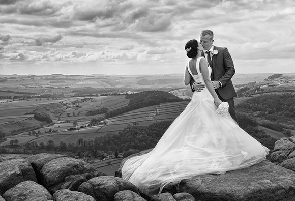Sheffield wedding photography landscape bride and groom dress