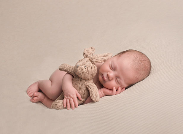 Sheffield newborn photography baby neutral colours teddy bear